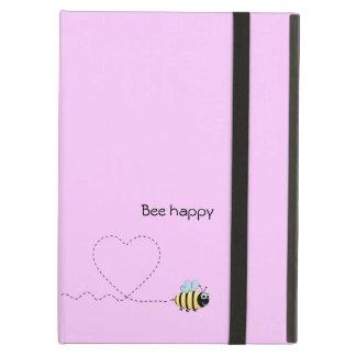 Happy cute bee cartoon pun pink iPad air cases