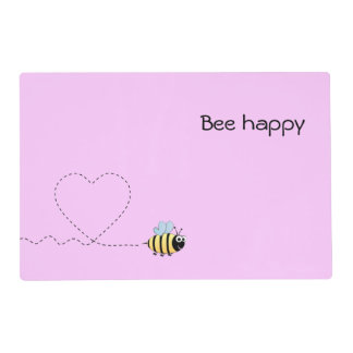 Happy cute bee cartoon pun pink laminated placemat