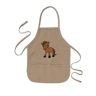 Happy Cute Brown Foal Little Horse Pony Colt Kids Apron