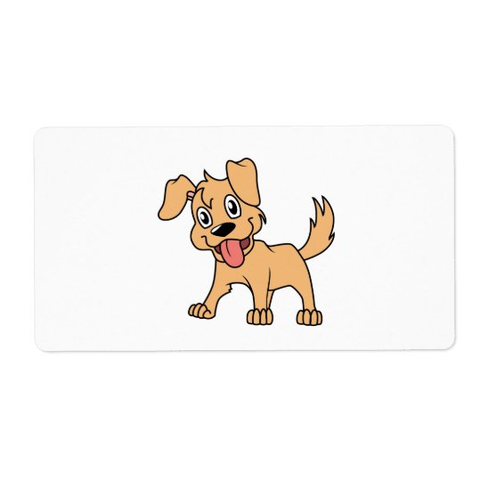 Happy Cute Brown Puppy Dog Tongue Out Shipping Label