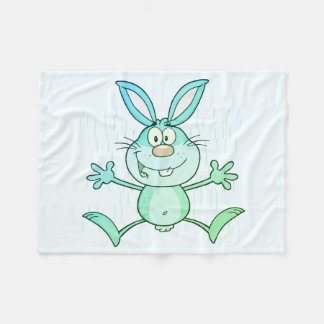 Happy Cute Bunny Rabbit Graphic Fleece Blanket