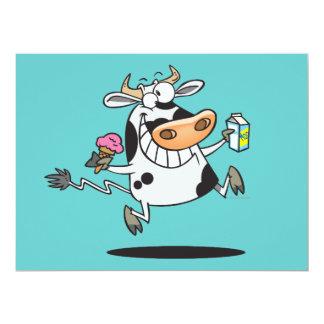 happy cute dairy cow cartoon ice cream milk custom invitations