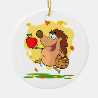 happy cute hedgehog apple picking ceramic ornament
