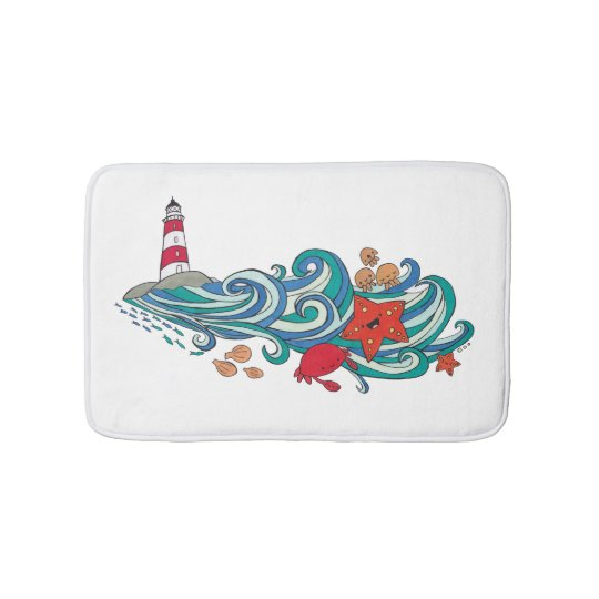 Happy Cute Ocean Creatures Bathroom Mat