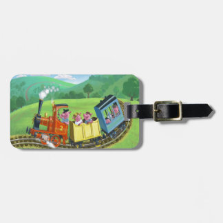 happy cute pigs on train journey in countryside luggage tag