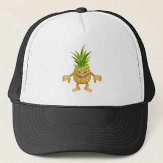 Happy cute pineapple fruit character trucker hat