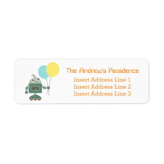 Happy Cute Robot with Balloons for kids Labels