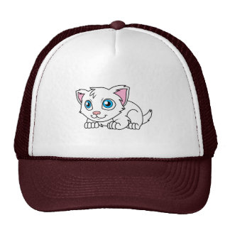 Happy Cute White Persian Cat with Blue Eyes Trucker Hat