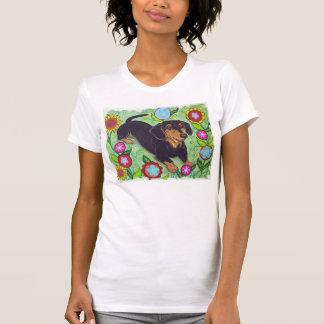 Happy Dachshund in garden flowers T Shirt