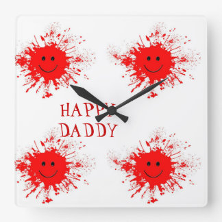 Happy Daddy Paint Ball Square Wall Clock