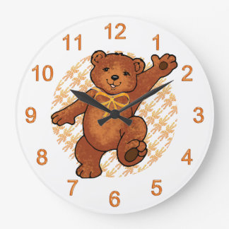 Happy Dancing Brown Teddy Bear Clocks