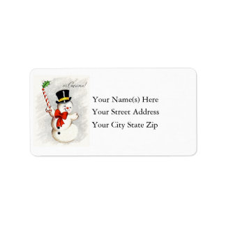 Happy Dancing Christmas Snowman Address Label