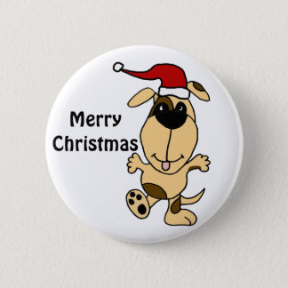 Happy Dancing Dog in Santa Hat Christmas Cartoon 2 Inch Round Button