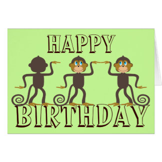 Happy dancing monkeys, birthday card