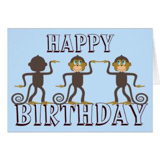 Happy dancing monkeys blue birthday greeting card
