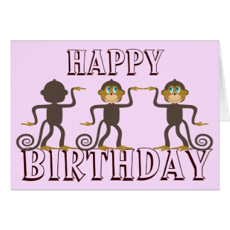 Happy dancing monkeys girly pink birthday card