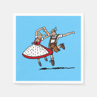 Happy Dancing Oktoberfest Couple Paper Napkins