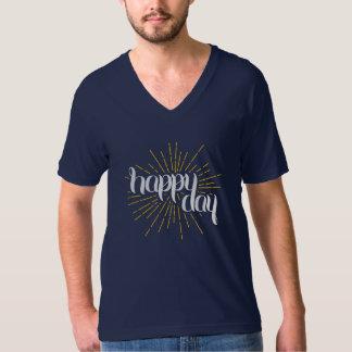 Happy Day Navy Unisex V-Neck T-Shirt