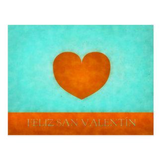 Happy day of San Valentin. Postal Heart Orange Postcard