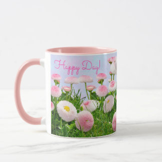 Happy Day Pink Floral Mug