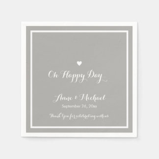 happy day wedding gray reception party disposable napkins