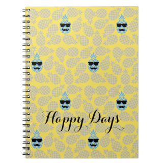 """Happy Days"" Pineapple Notebook. Spiral Notebook"