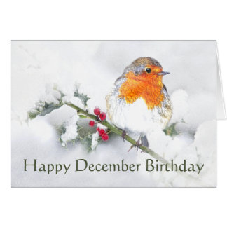 Happy December Birthday English Robin Card