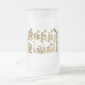 Happy Diwali Decorative Stars Typography Gold Frosted Glass Beer Mug