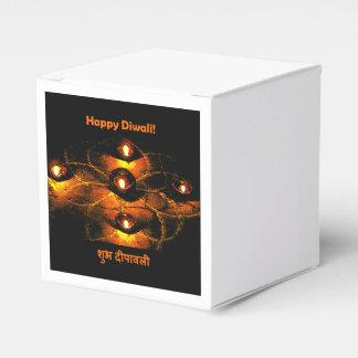 Happy Diwali Diya Lights and Hindi Greeting Favor Box