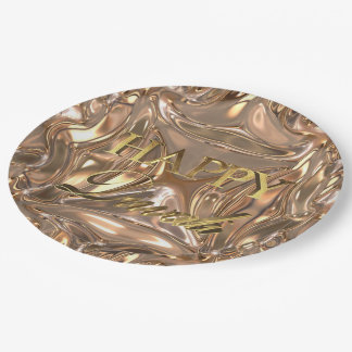 Happy Diwali Festival of Lights Gold Typography Paper Plate