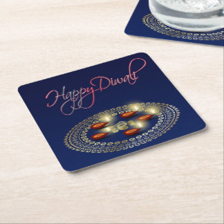 Happy Diwali Ganesha Rangoli - Paper Coaster