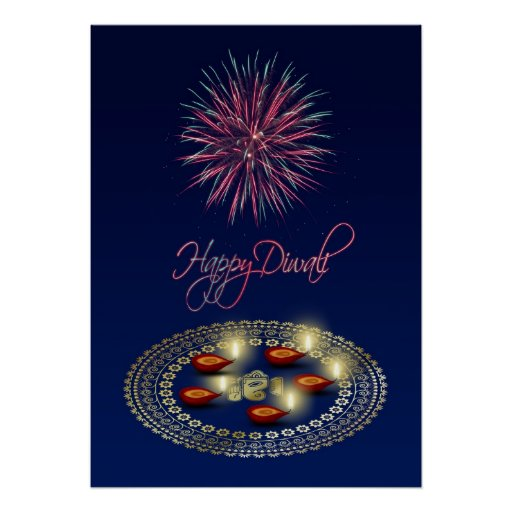 Happy Diwali Ganesha Rangoli - Poster Print