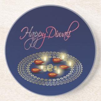 Happy Diwali Ganesha Rangoli - Sandstone Coaster