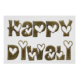 Happy Diwali Greeting Cute Heart Typography Poster