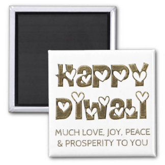 Happy Diwali Greeting Cute Hearts Typography Square Magnet