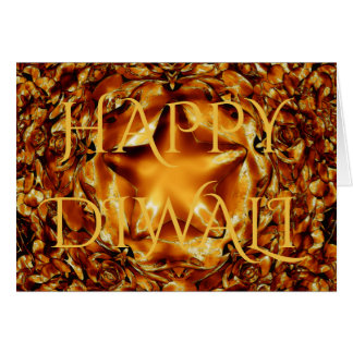 Happy Diwali Greeting Gold Copper Shiny Star Card