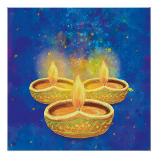 Happy Diwali hand painted illuminating candles Poster