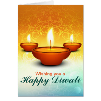 Happy Diwali lightning oil lamps golden green Card