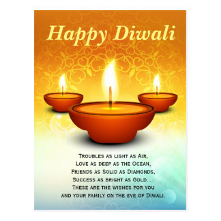 Happy Diwali lightning oil lamps golden green Postcard