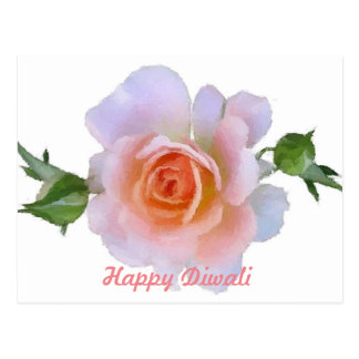 Happy Diwali, Pink Rose, floral paintbrush art Postcard