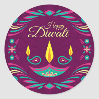 Happy Diwali purple candle flat illustration Classic Round Sticker