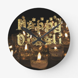 Happy Diwali Quote Black Gold Typography Candles Round Clock