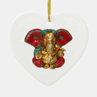 Happy DIWALI -  Thank you GANAPATI Ganesh Ceramic Heart Ornament