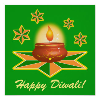 Happy Diwali with Lantern Poster