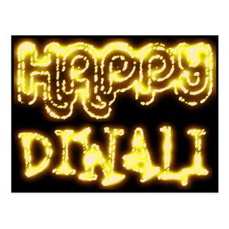 Happy Diwali Yellow Golden Lights Typography Night Postcard