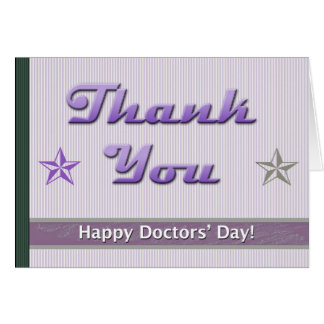 Happy Doctors' Day Purple Stripes and Stars Card