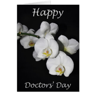 Happy Doctors' Day White Orchid Flower Card