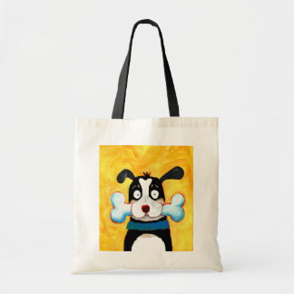 happy dog add your own text tote bag