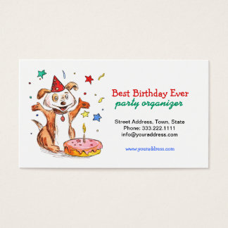 Happy Dog Birthday Cake Party Organizer Card