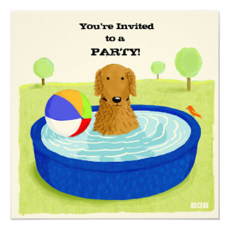 Happy Dog Pool Party Invitation
